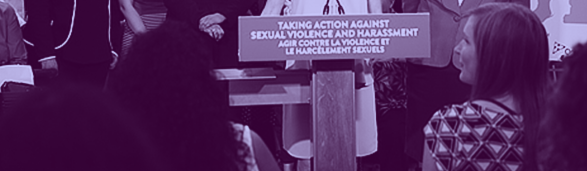 On a podium: Taking Action Against Sexual Violence and Harassment